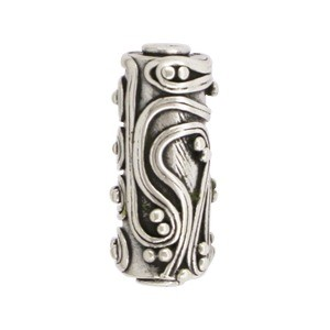Sterling Silver Bead - Barrel Shape w Fine Wire Squiggles