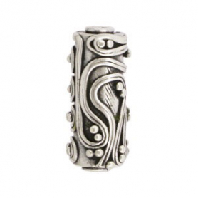 Sterling Silver Bead - Barrel Shape w Fine Wire Squiggles