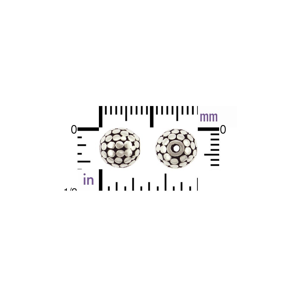 Sterling Silver Bead - Sm Round with Bang Granulation 8x8mm