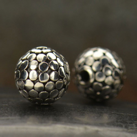 Sterling Silver Bead - Sm Shiny Round with Bang Granulation