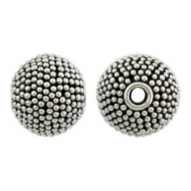 Sterling Silver Bead - Med Round with Carpet Granulation