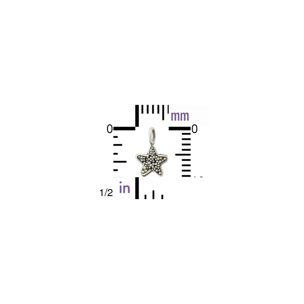 Sterling Silver Star Charm with Granulation 9x6mm