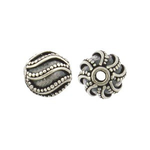 Sterling Silver Bead - Sm Round with Swirl Granulation 7x7mm