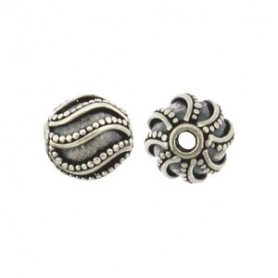 Sterling Silver Bead - Sm Round with Swirl Granulation
