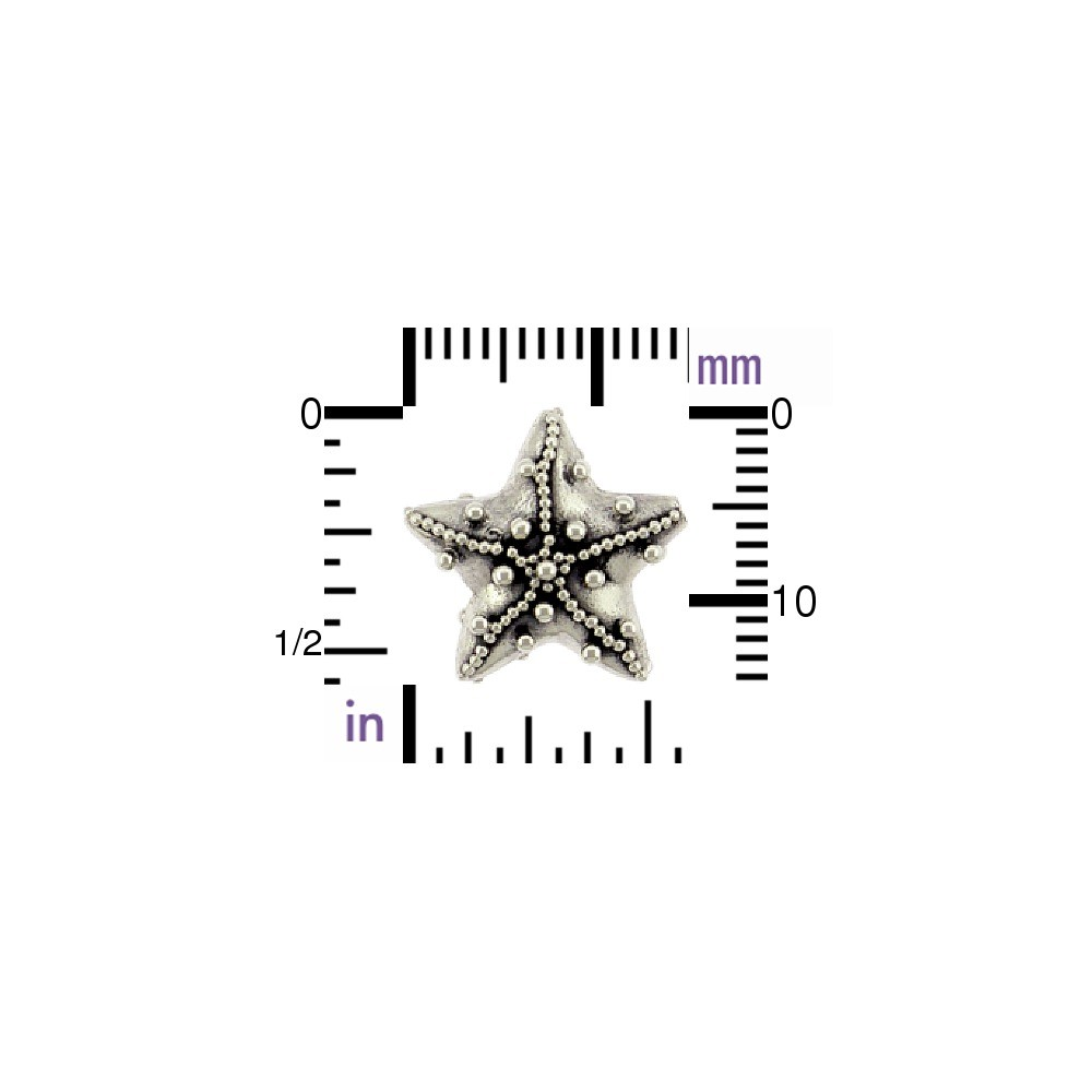 Sterling Silver Bead - Starfish with Granulation 15x15mm