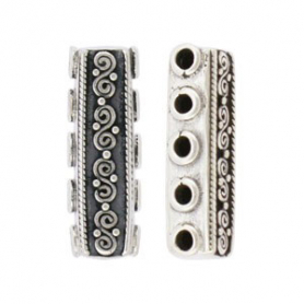 Silver Spacer Bar -5 Holes with Spiral and Dots DISCONTINUED