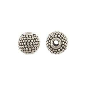 Sterling Silver Bead - Small Round with Carpet Granulation
