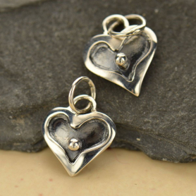 Sterling Silver Heart Charm Dangle with Granulation Dot