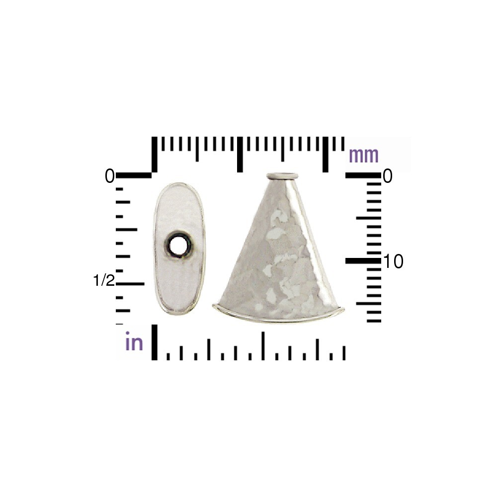 Sterling Silver Flat Cone Cord End with Hammer Finish
