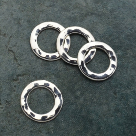 Jewelry Supply - Small Hammered Circle Silver Link