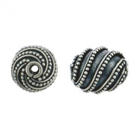 Sterling Silver Bead - Sm Shiny Oval with Bang Granulation