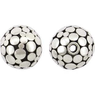 Silver Bead - Flat Shiny Circles on Oxidixed Base 12x11mm
