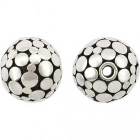 Sterling Silver Bead - Flat Shiny Circles on Oxidixed Base