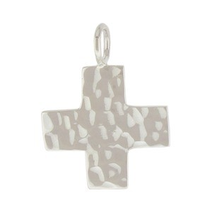 Sterling Silver Cross Charm - Hammered Finish - Large