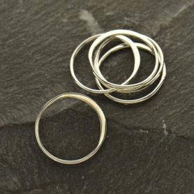 Sterling Silver Half Hammered Circle Jewelry Link -15mm