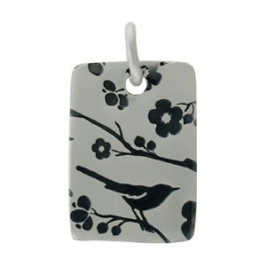 Silver Pendant with Songbird Print - Short Rectangle