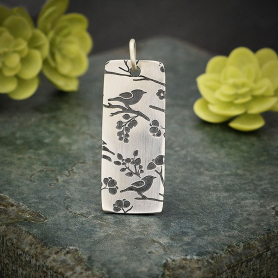 Sterling Silver Pendant with Songbird Print - Long Rectangle