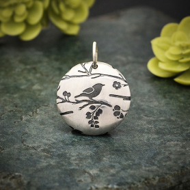 Sterling Silver Med Round Pendant with Songbird Print