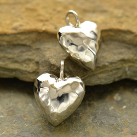 Sterling Silver Hammer Finish Puffed Heart Charm -Small