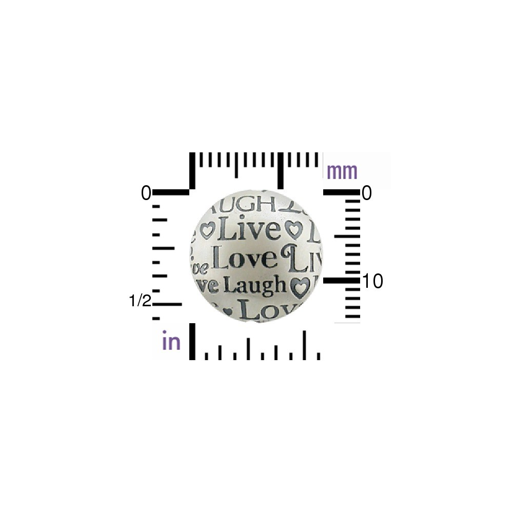 Silver Bead - Round with Live Laugh Love Print 15x15mm