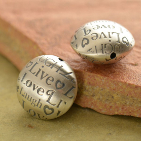 Sterling Silver Bead - Round with Live Laugh Love Print