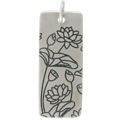 Sterling Silver Pendant with Lotus Print - Long Rectangle