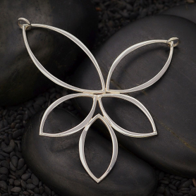 Jewelry Supplies - Marquis Cluster Festoon Silver Pendant