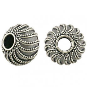 Sterling Silver Large Hole Bead with Swirl Granulation