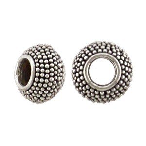 Silver Large Hole Bead with Carpet Granulation 10x7mm