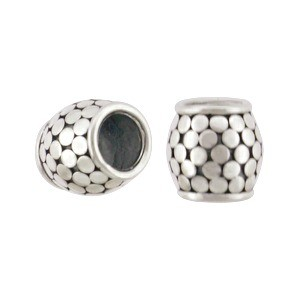Sterling Silver Large Hole Bead with Bang Granulation 8x8mm