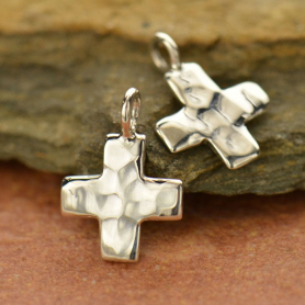 Sterling Silver Cross Charm - Hammered Finish - Small