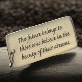 Silver Message Pendant - The Future Belongs to 40x14mm