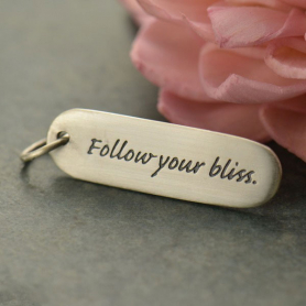 Sterling Silver Message Pendant - Follow Your Bliss 29x8mm