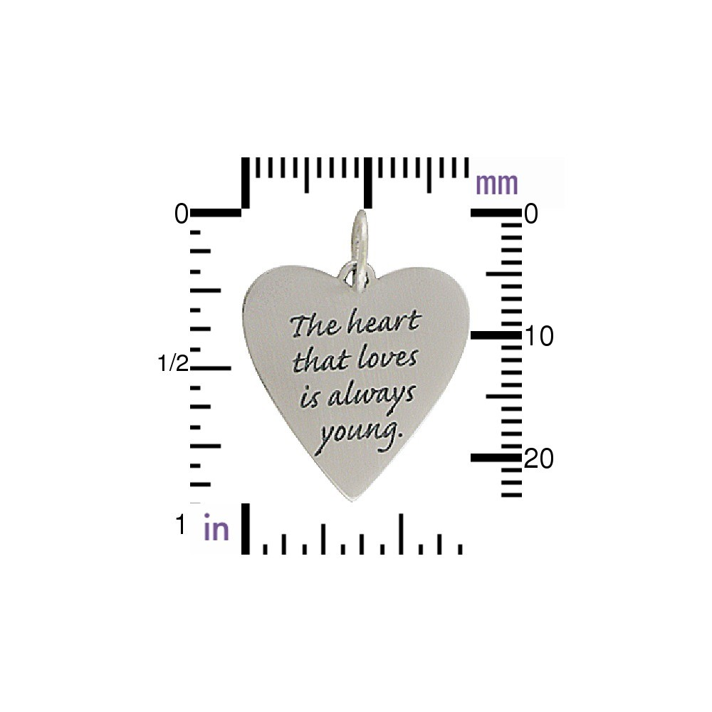 Silver Message Pendant - The Heart That Loves is 26x19mm