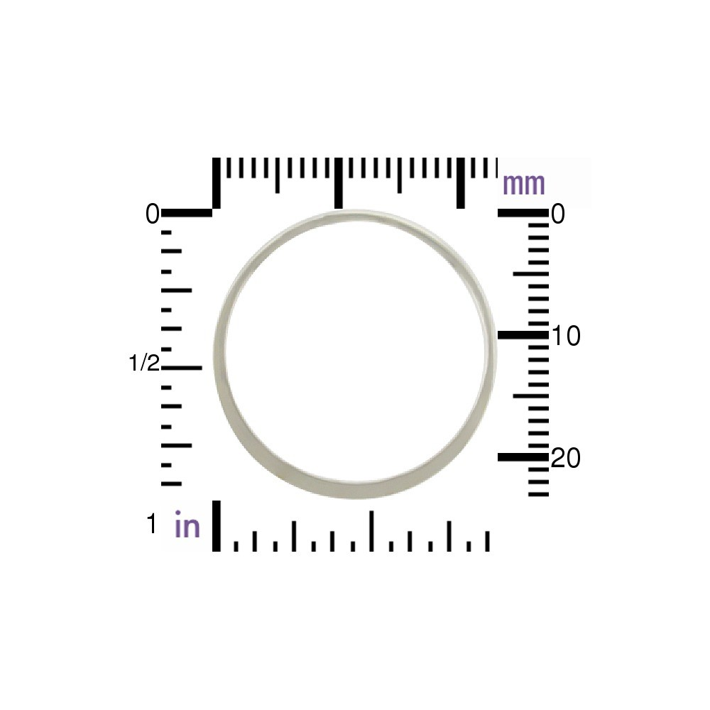 Sterling Silver Half Hammered Circle Jewelry Link 25mm