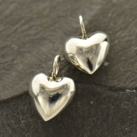 Sterling Silver Puffed Heart Charm - Medium