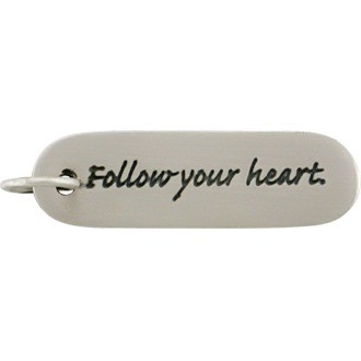 Sterling Silver Message Pendant - Follow Your Heart 30x8mm