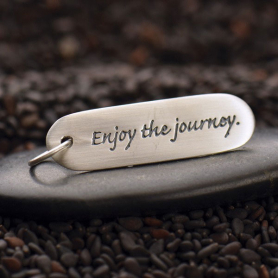 Sterling Silver Message Pendant - Enjoy the Journey 30x8mm