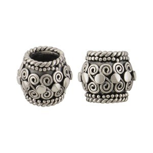 Sterling Silver Large Hole Bead with Wire Curlicues 9x8mm