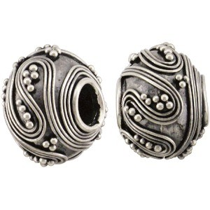Silver Large Hole Bead with Swirls and Granulation 14x11mm