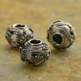 Sterling Silver Large Hole Bead with Swirls and Granulation