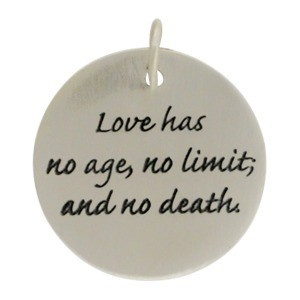 Sterling Silver Message Pendant - Love Has No Age 23x20mm