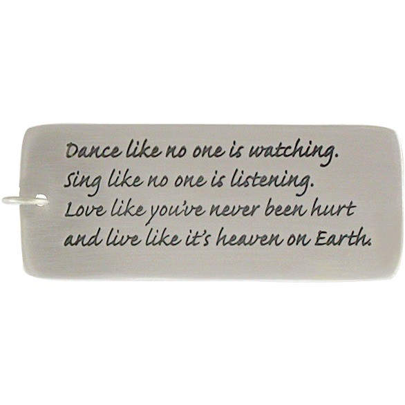 Sterling Silver Message Pendant - Dance like no one 50x19mm