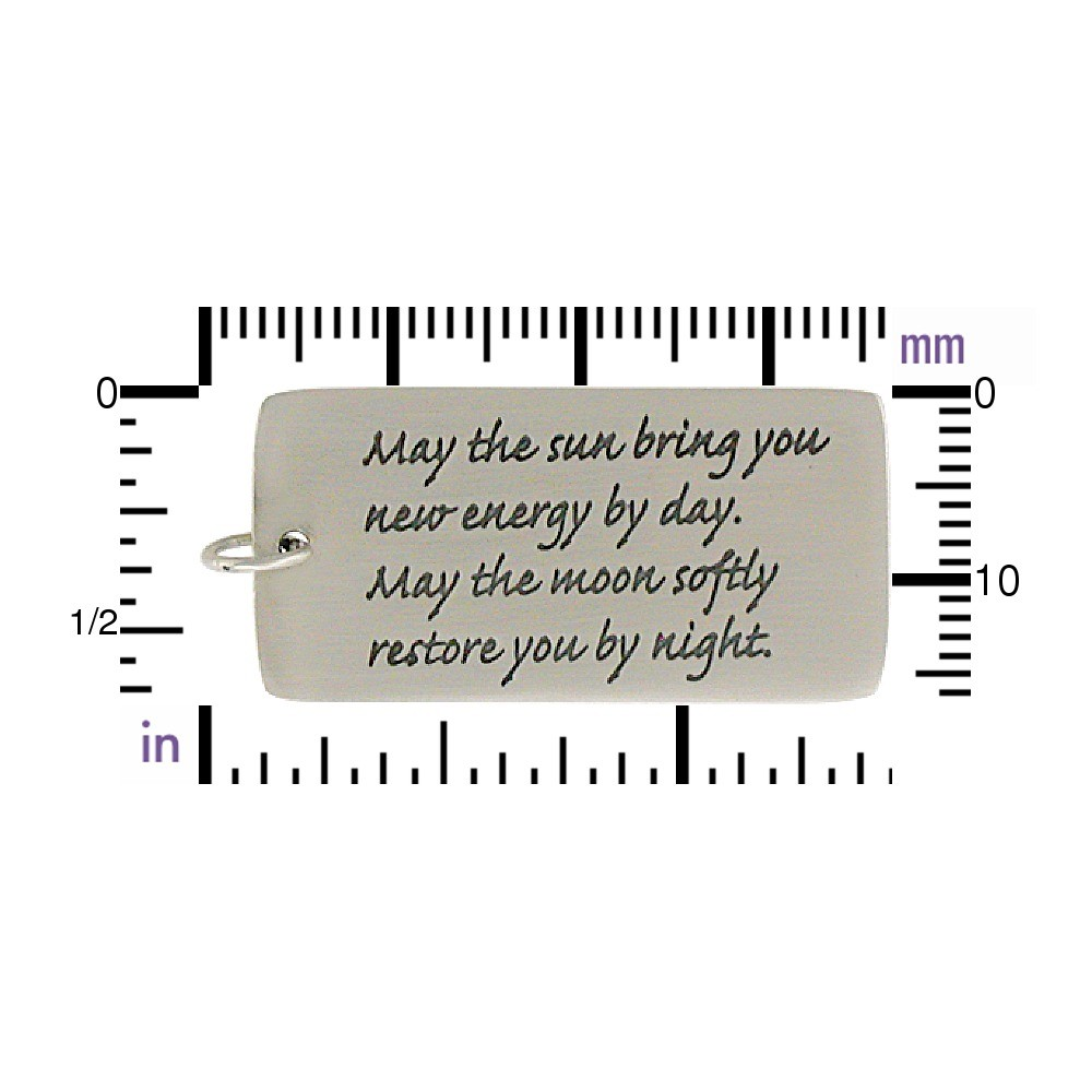 Sterling Silver Message Pendant - May the Sun bring 38x17mm