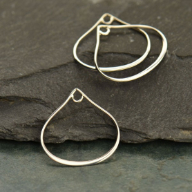 Sterling Silver Wide Bottom Teardrop Link with Loop -20mm