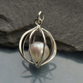 Sterling Silver Cage Pendant with Pearl