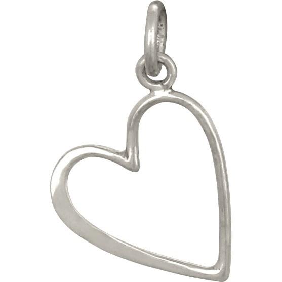Sterling Silver Open Heart Charm - Medium 19x12mm