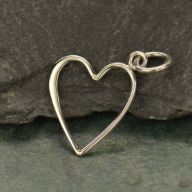 Sterling Silver Open Heart Charm - Medium