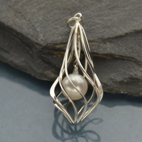 Sterling Silver Twisted Teardrop Cage Pendant with Pearl