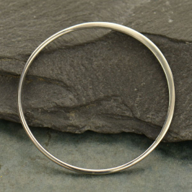 Sterling Silver Half Hammered Circle Jewelry Link -36mm